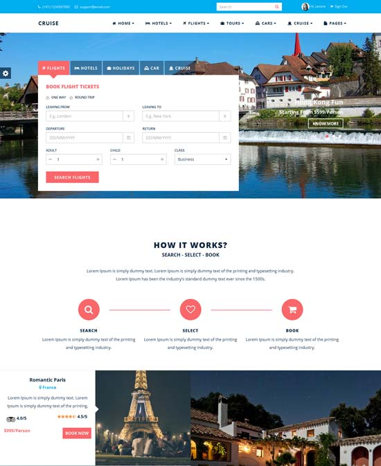 Cruise - Responsive Travel Website Template