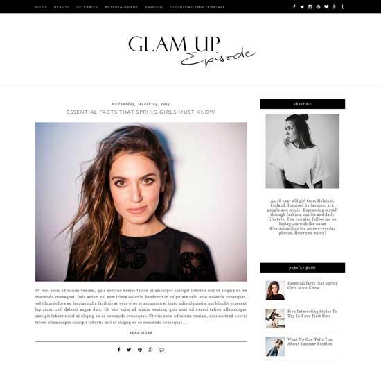Glam Up free blogger theme