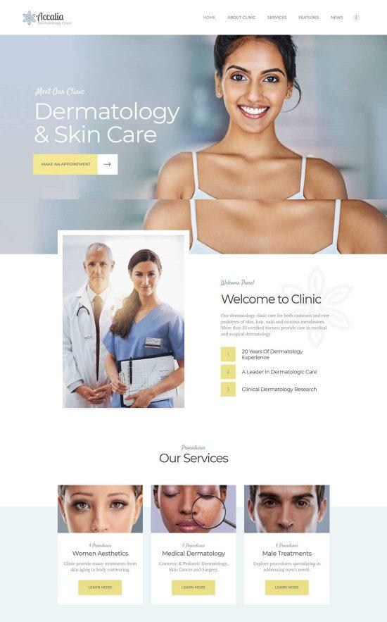 accalia dermatology clinic wordpress theme
