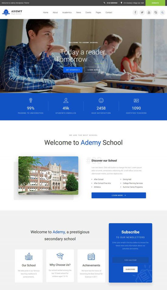 ademy educational institutes wordpress theme