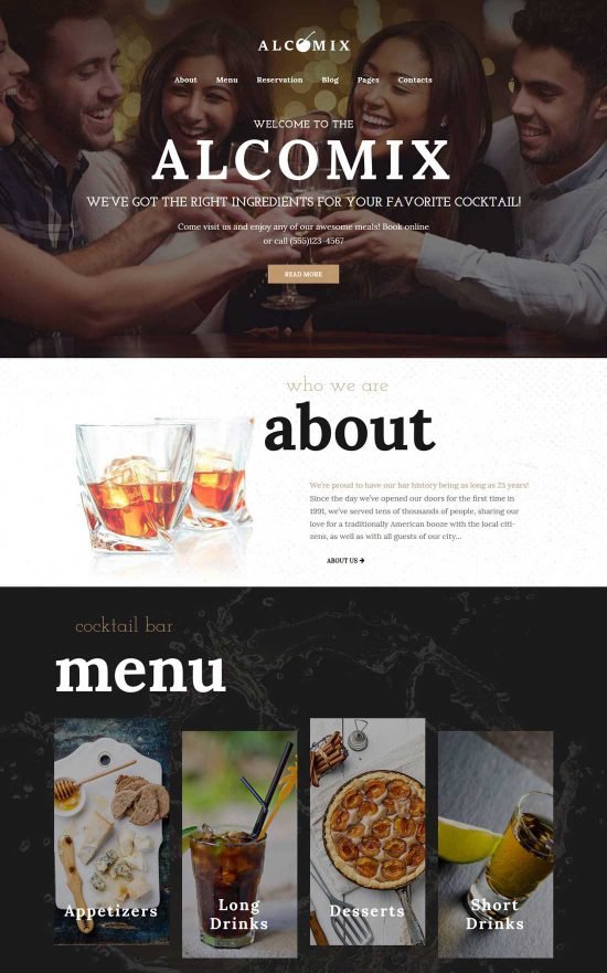 alcomix cocktail bar wordpress theme