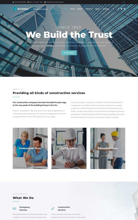 architus construction wordpress theme