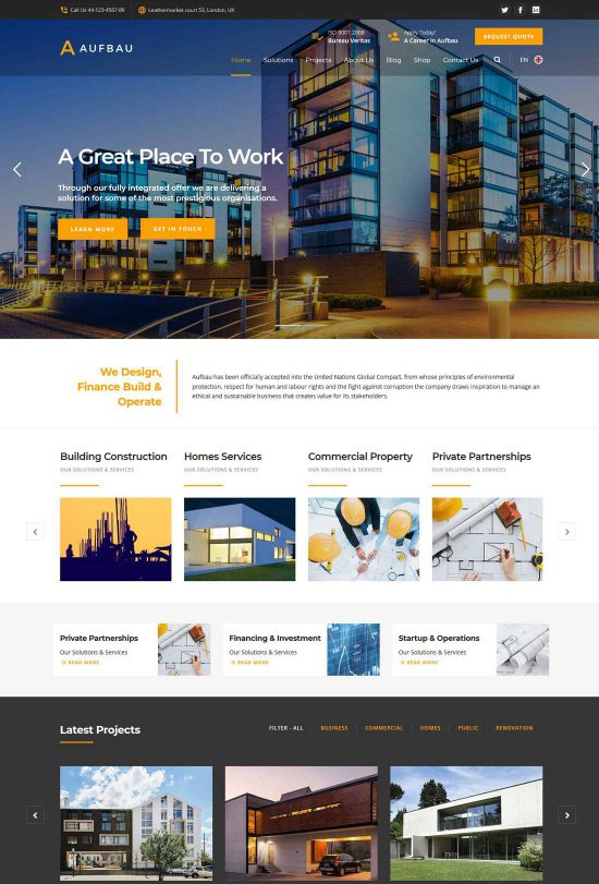 aufbau construction wordpress theme