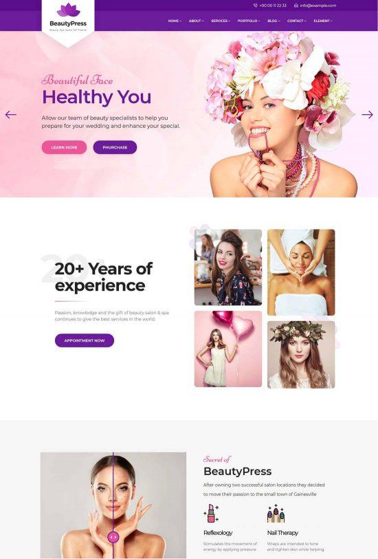 beautypress beauty salon wordpress theme