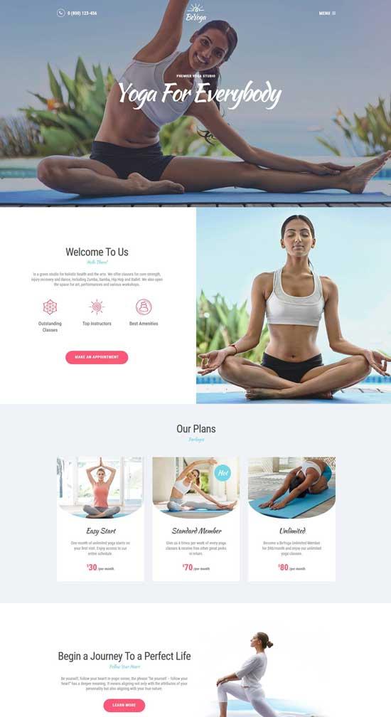 beyoga yogastudio wp theme