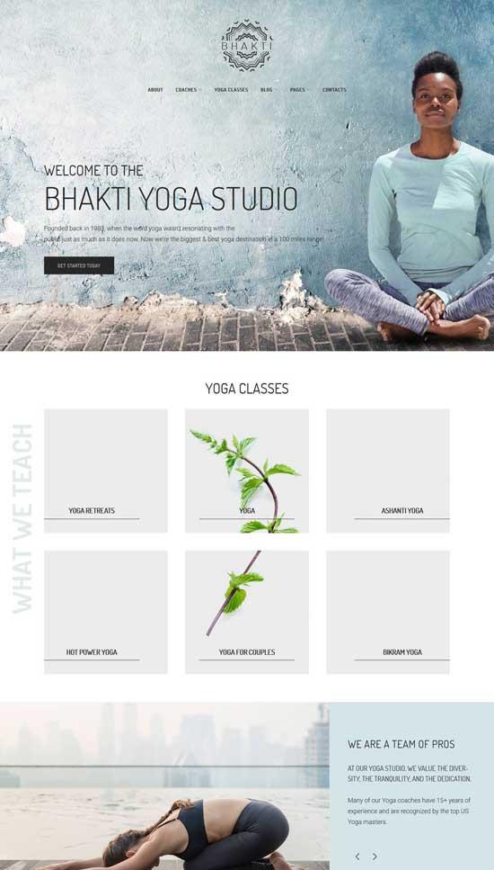 bhanti wordpress yoga theme