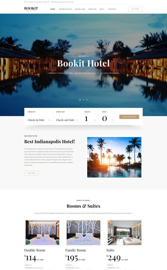 bookit small hotel wordpress theme