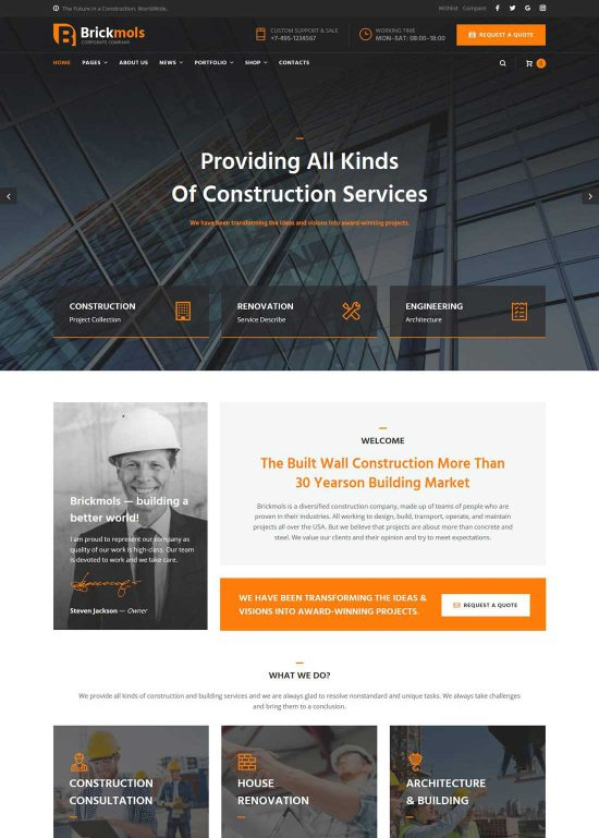 brickmols construction company wordpress theme