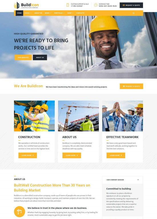 buildicon construction company wordpress theme