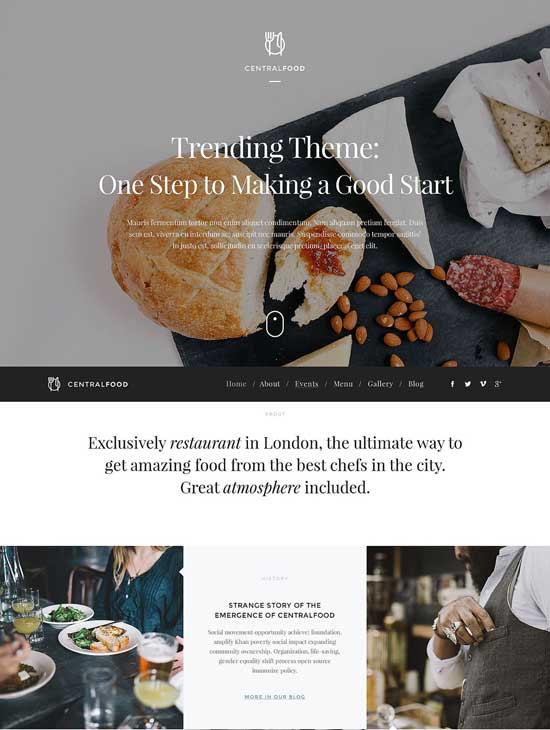 Central Food - Cafe and Restaurant Responsive WordPress Theme