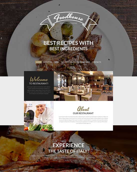 European Cuisine WordPress Cafe Theme