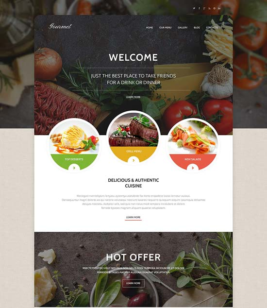 gourmet responsive cafe WordPress theme
