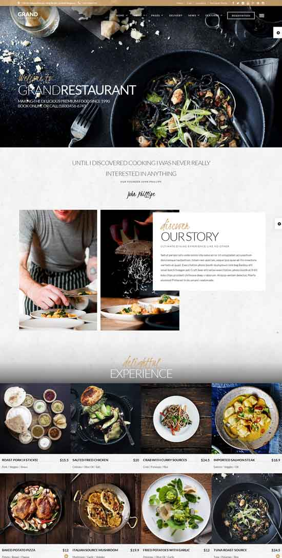 grand - WordPress restaurant theme