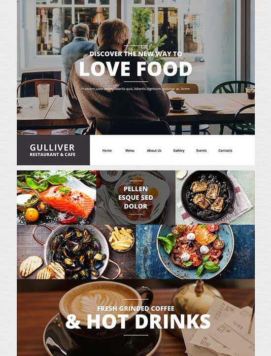 Gulliver cafe and WordPress restaurant theme