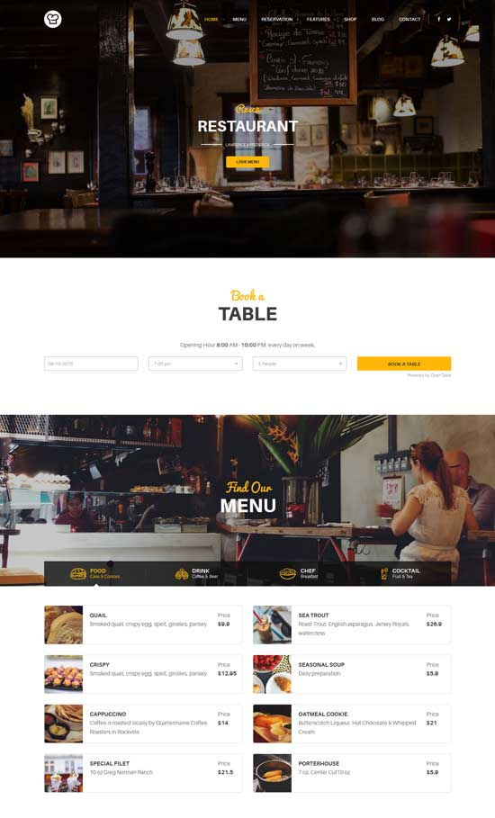 resca - WordPress restaurant theme