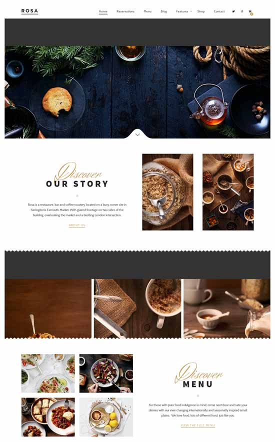 Rosa WordPress restaurant theme
