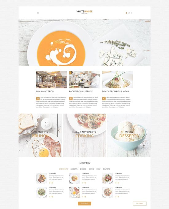 WhiteHouse - Cafe and WordPress restaurant theme