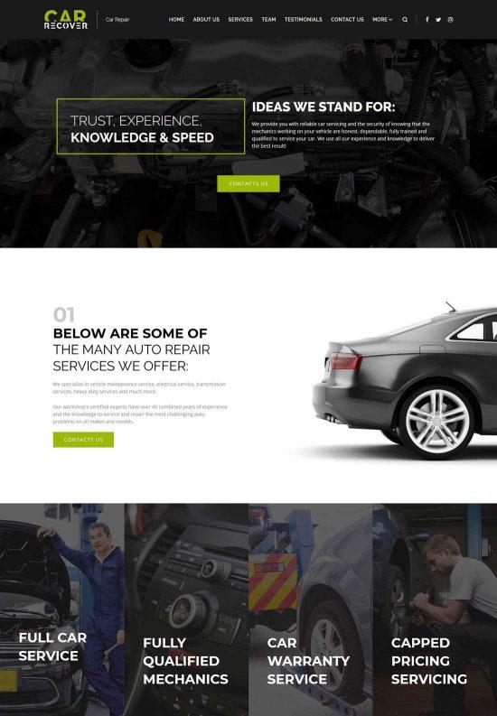 car recover car repair wordpress theme
