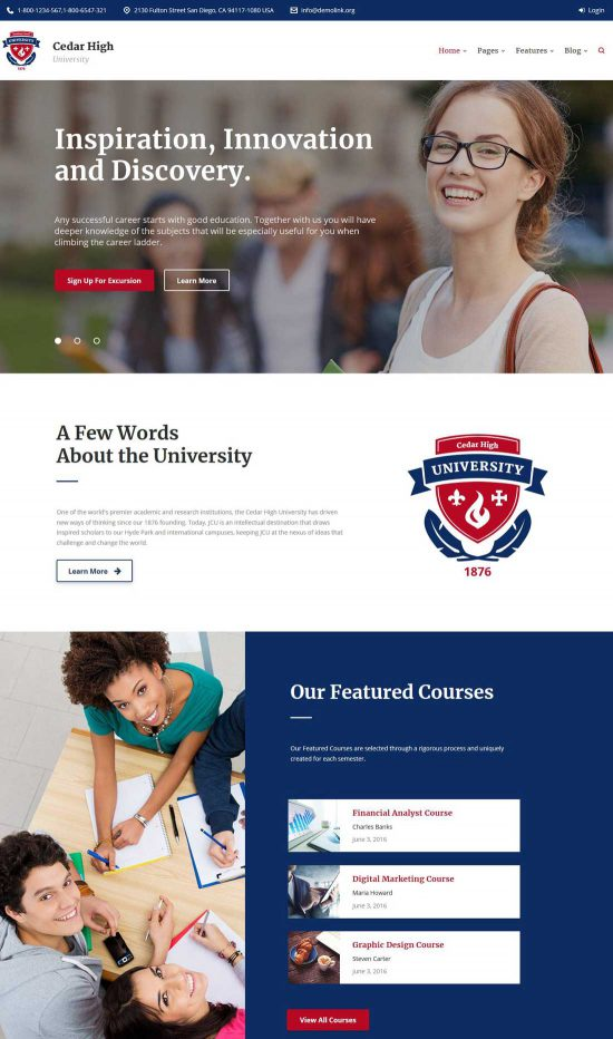 cedar high university wordpress theme