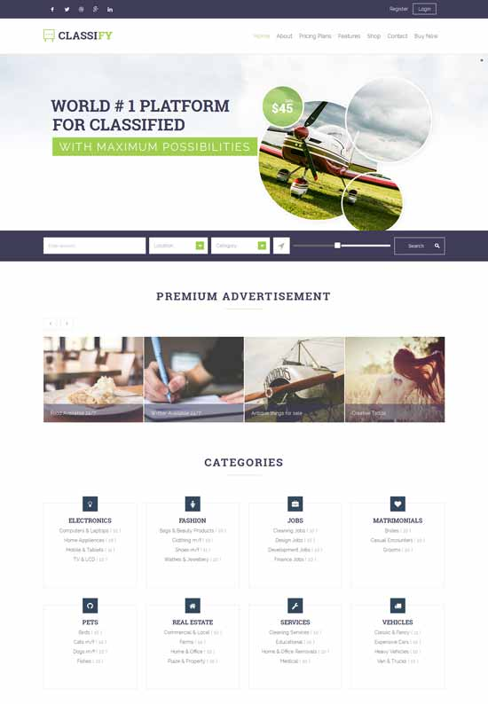 Classify high quality classified WordPress theme