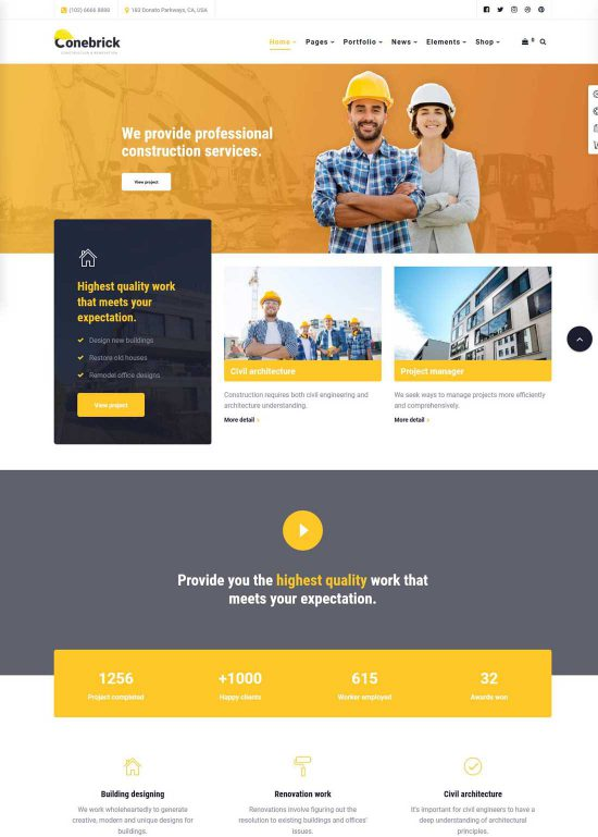 conebrick construction wordpress theme