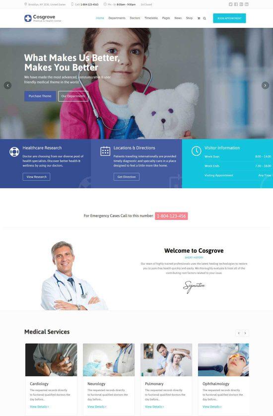 cosgrove medical healthcare wordpress theme
