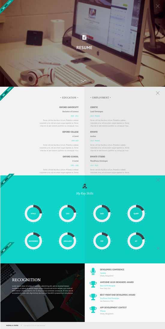 50 best vcard resume wordpress themes 2018 freshdesignweb