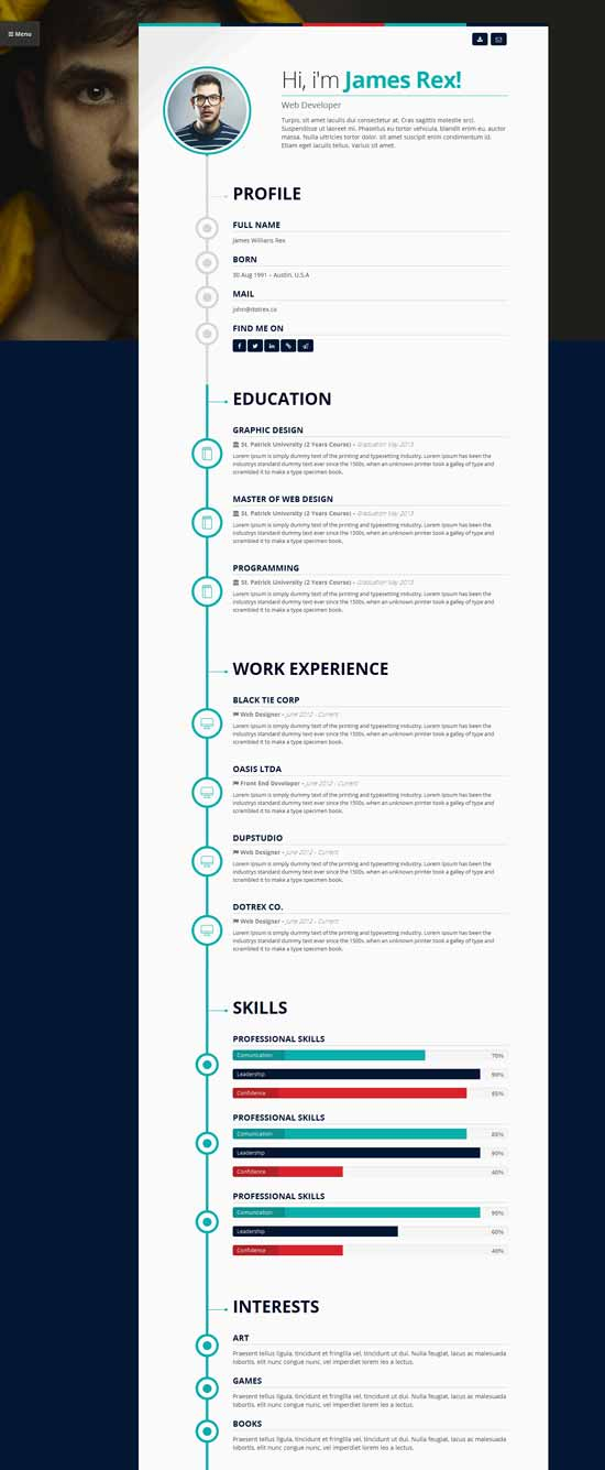 Vertica clean resume WordPress theme