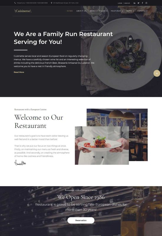 cuisinette restaurant wordpress theme