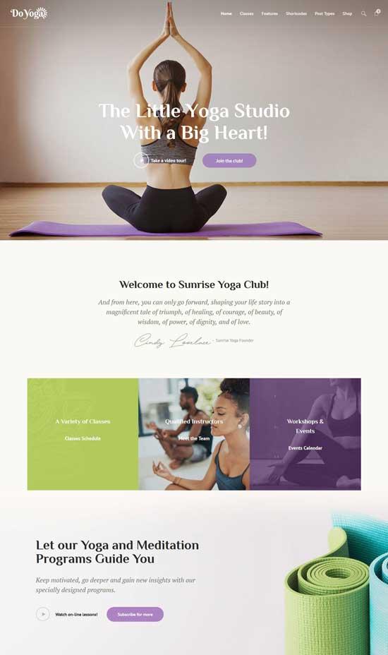 do yoga club wordpress theme