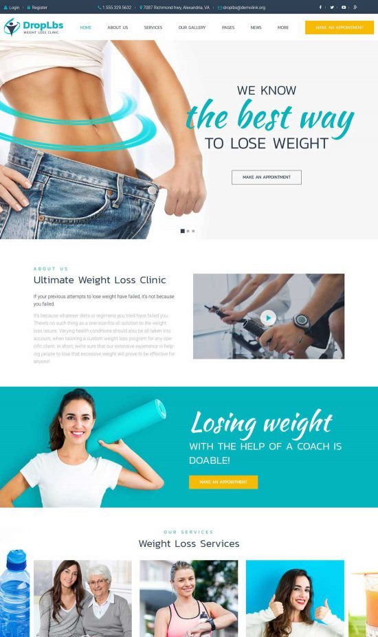 droplbs weight loss clinic wordpress theme
