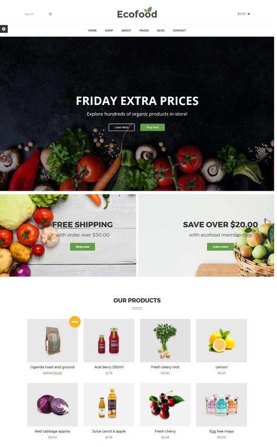 ecofood organic store farm wordpress theme