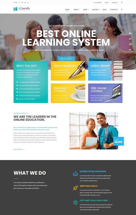 ecoursify online courses wordpress theme