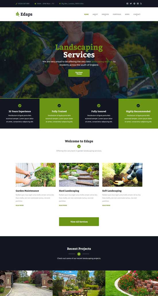 edaps wordpress landscaping theme
