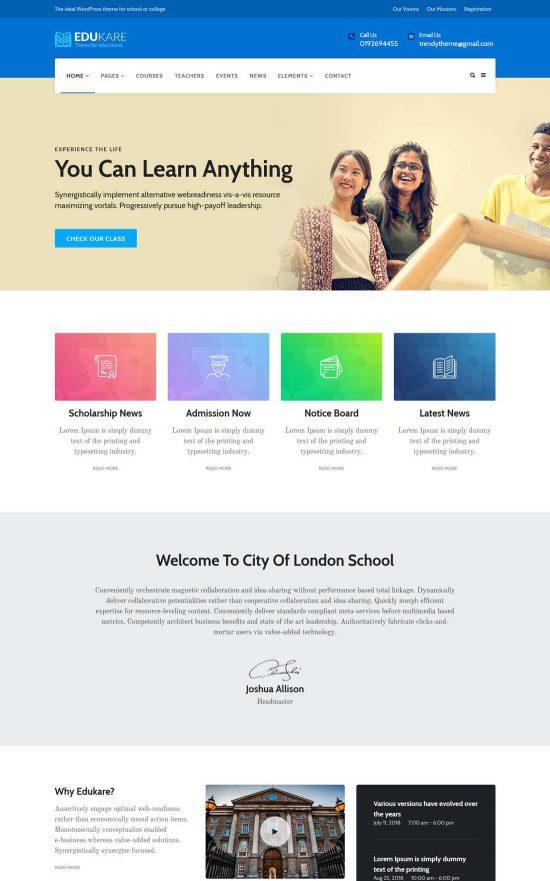 edukare education wordpress theme