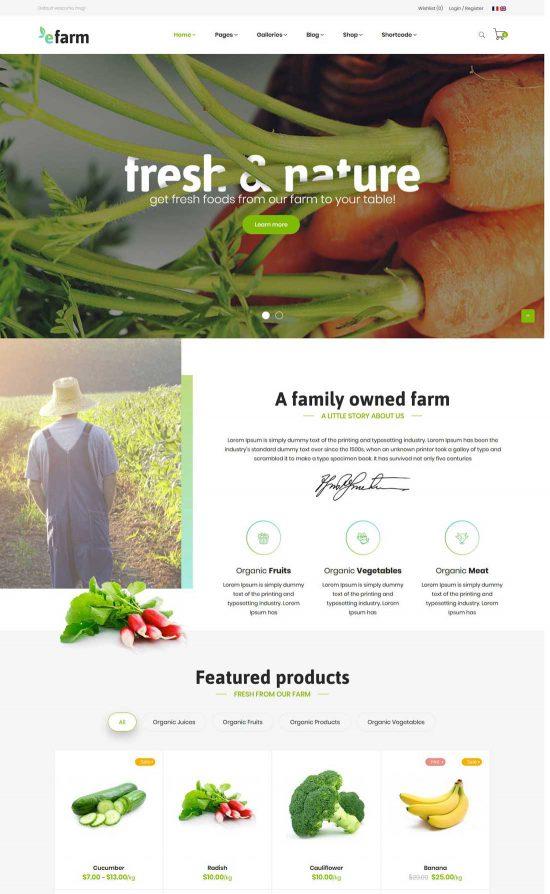 efarm food farm wordpress theme