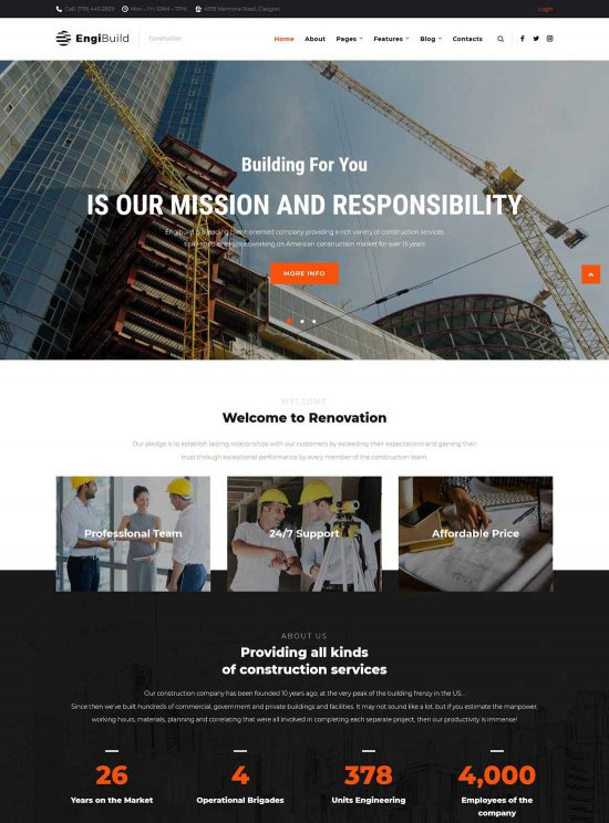engibuild construction wordpress theme