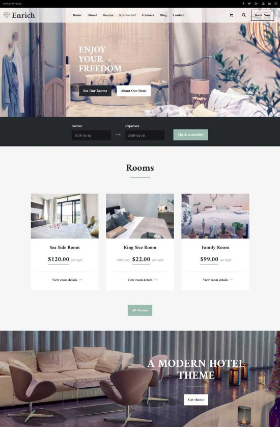 enrich hotel booking wordpress theme