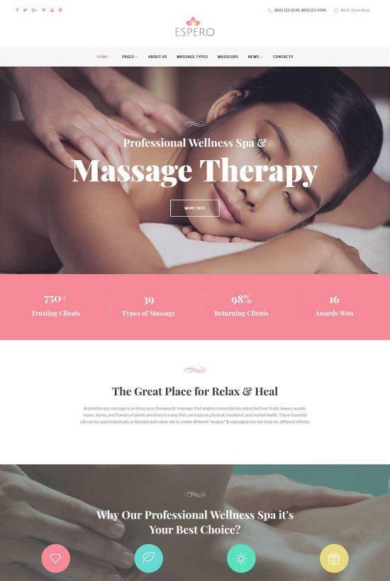 espero massage salon wordpress theme