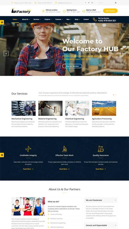factory hub industry wordpress theme