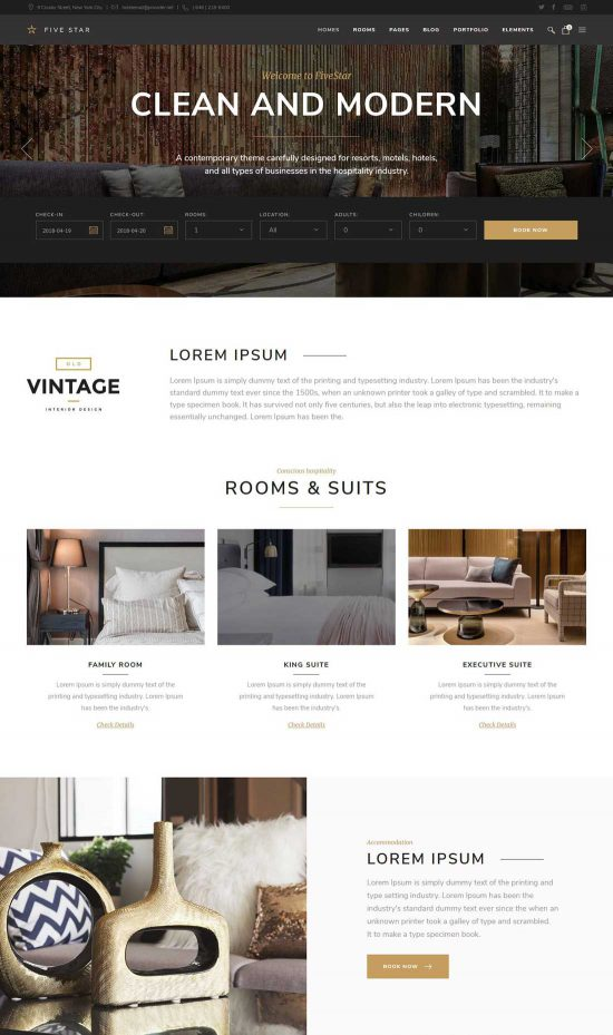 fivestar hotel resort booking theme