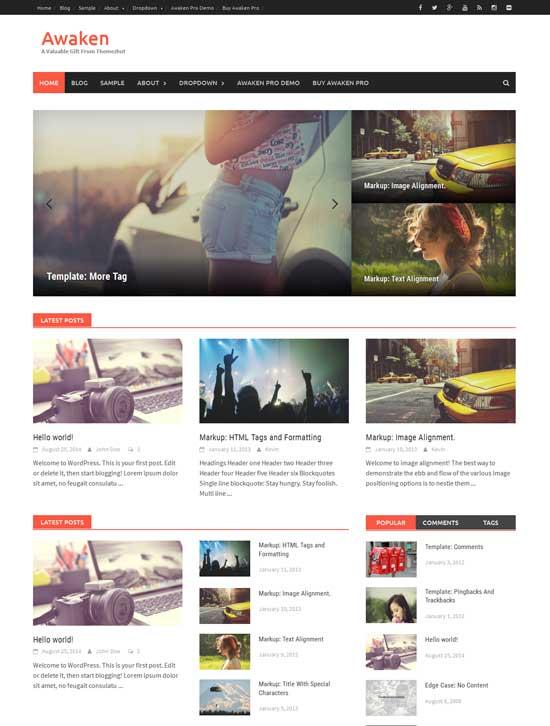 Awaken retina free magazine WordPress theme