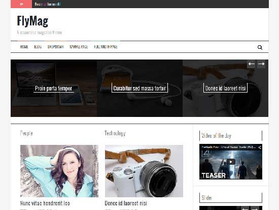 Flymag responsive free magazine WordPress theme
