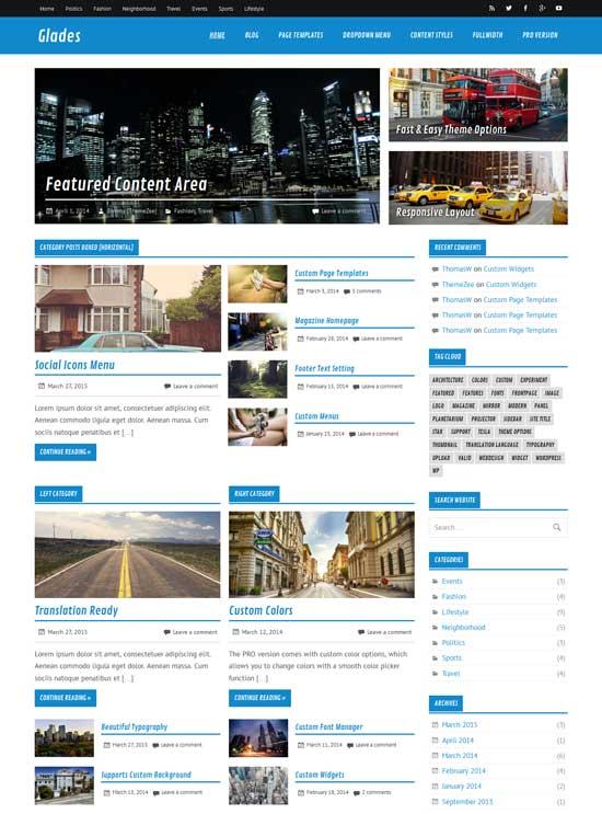 Glades modern free magazine WordPress theme
