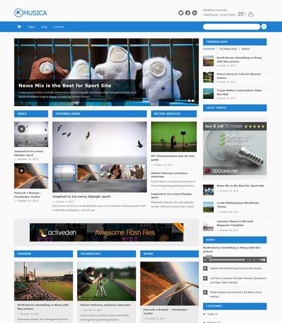 Musica – a free nice free magazine WordPress theme