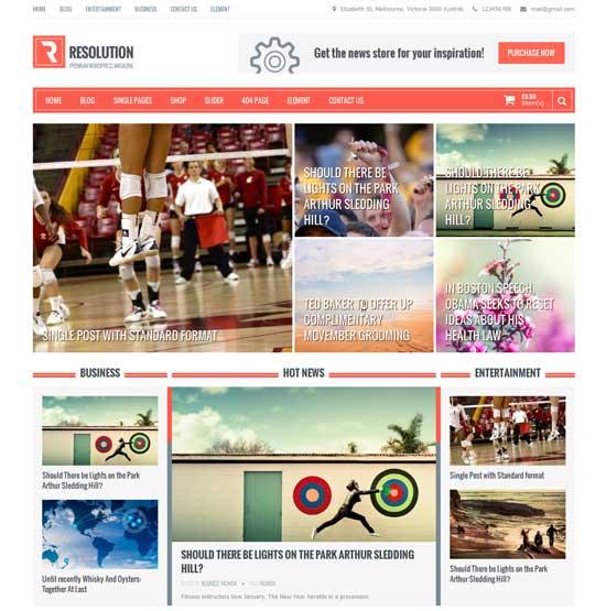 Resolution bootstrap free magazine WordPress theme