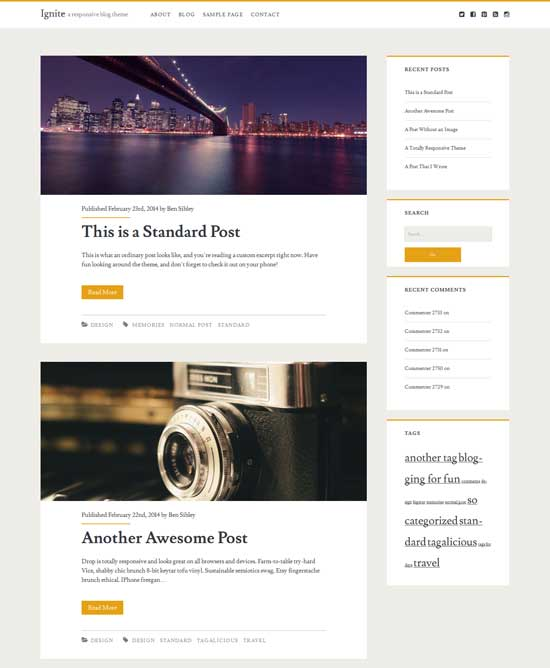 ignite - personal blog theme