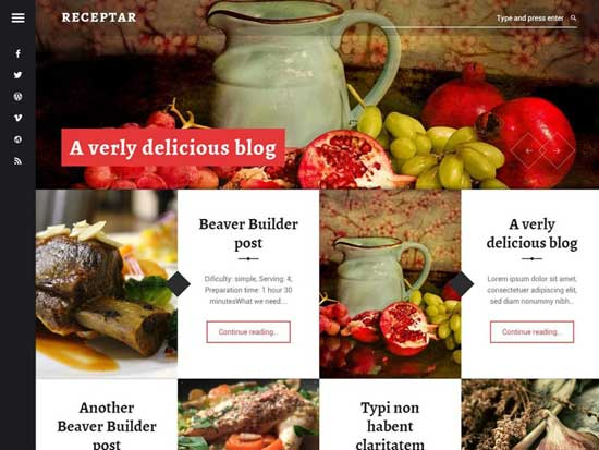 receptar wordpress photography theme