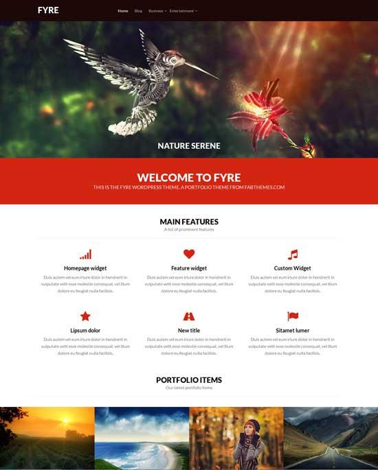 Fyre portfolio free fullscreen WordPress theme