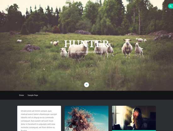 Hunter modern free fullscreen WordPress theme